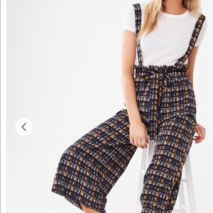 Abstract Print Suspender Pants